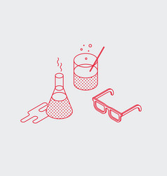 outline isometric test tube icon vector image