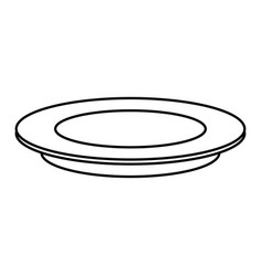 Outline plate dish empty round icon vector