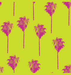 palm trees retro style pink on lime green pattern vector image