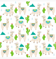 pattern with llama alpaca cactus vector image