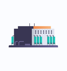 Petroleum oil refinery machinery factory building vector