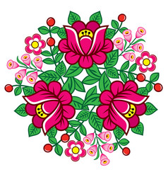 polish folk art floral round decoration vector image