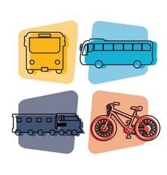 Public transport vehicles icons vector