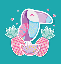 Punchy pastel tucan and fruits vector