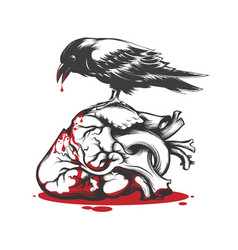 raven biting bleeding heart vector image