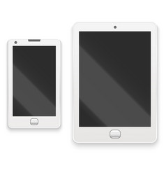 Realistic detailed white tablet and phone vector