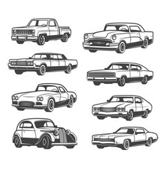 Retro car and vehicle vector