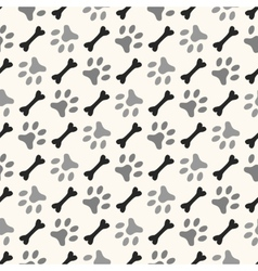 Seamless animal pattern of paw footprint and bone vector image