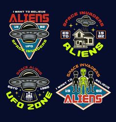 Set aliens and ufo color emblems vector