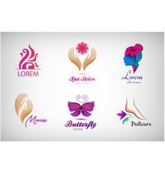 set beauty salon logos massagem spa icons vector image
