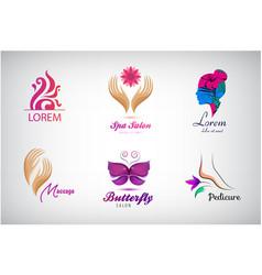 set beauty salon logos massagem spa icons vector image