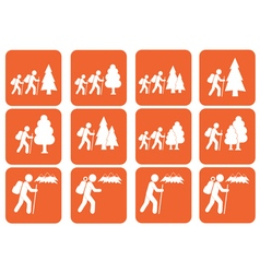 Set of hiking icon vector