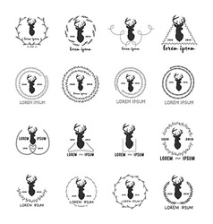 Set of hipster logo with silhouette of deer vector