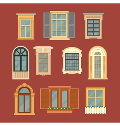 Set of Vintage Windows in flat style vector