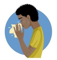 Sneezing african american man eps10 vector image