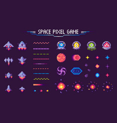 space pixel game spaceship and plants mosaic set vector image