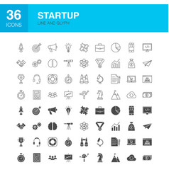startup line web glyph icons vector image