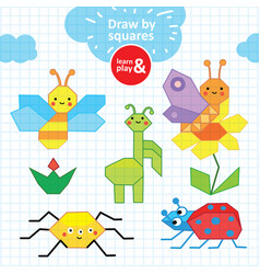 summer collection of insects pen children s vector image