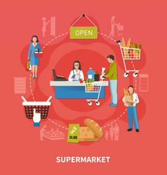 Supermarket cash desk composition vector
