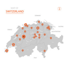 Switzerland with administrative divisions vector