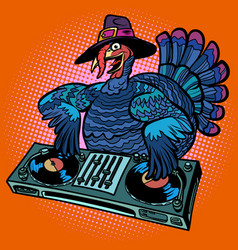 Thanksgiving turkey character dj at the holiday vector