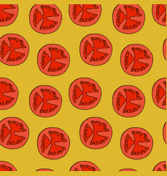 tomato slice seamless pattern vector image