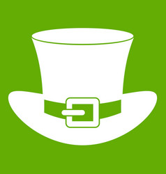 top hat with buckle icon green vector image