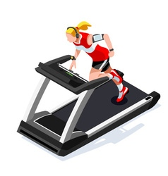 Treadmill Gym Class Working Out 3D Isometric Image vector image