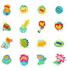 Troubled earth icons set isometric style vector