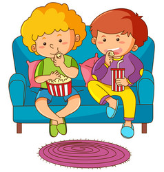 Two boys eating snack and drinking soda on sofa vector