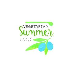 vegetarian summer logo design element for healthy vector image