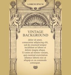 Vintage background in form building facade vector