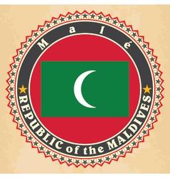 Vintage label cards of Maldives flag vector