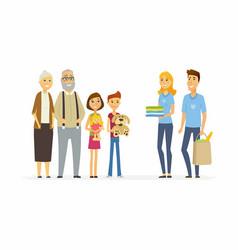 volunteers help children and seniors - cartoon vector image