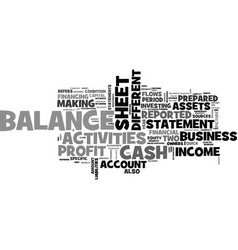 what is a balance sheet text word cloud concept vector image