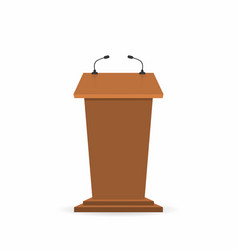 wooden podium tribune stand rostrum with vector image