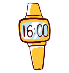 Yellow wristwatch on white background vector