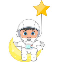 Young astronaut sitting on the crescent moon vector