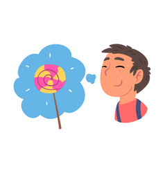 Young man dreaming about lollipop human thoughts vector