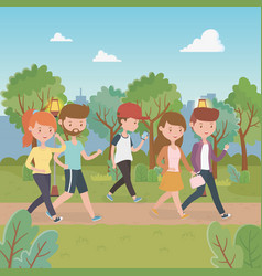 Young people walking in park characters vector