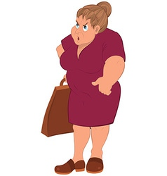 Cartoon fat woman in red dress and grocery bag vector image