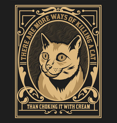 Cat label western style vector