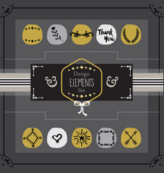 golden and gray emblems card design elements set vector image vector image