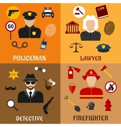 Policeman firefighter detective and lawyer icons vector image vector image