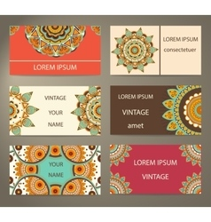 Set business cards with decorative flowers vector image vector image
