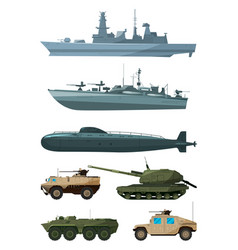warships and armored vehicles of land forces vector image