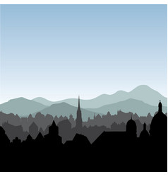 city skyline buildings silhouette cityscape old vector image vector image