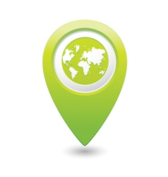 earth icon on map pointer green vector image