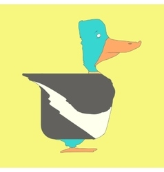 Hand drawn flat square icon Duck isolated on vector image vector image