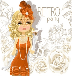 Retro Party Cute Girl Background vector image